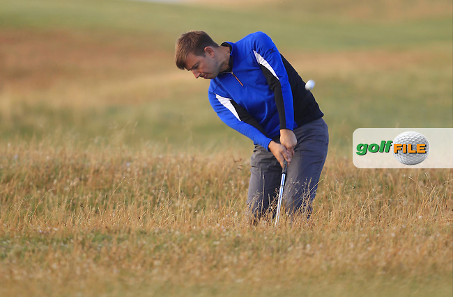 Keith MacKenzie (Bruntsfield Links) in the rough on the 1st during the South of Ireland Amateur Open Championship Second Round at Lahinch Golf Club  28th July 2013 <br /> Picture:  Thos Caffrey / www.golffile.ie