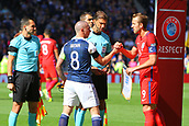 June 10th 2017, Hampden park, Glasgow, Scotland; World Cup 2018 Qualifying football, Scotland versus England; Scott Brown and Harry Kane exchange handshakes and pennants