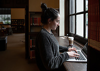Emma Robitaille '19 works on her final paper for linguistics.<br /> Occidental College students study for finals and write papers during finals week in the Academic Commons/Mary Norton Clapp Library, Wednesday, May 8, 2019.<br /> (Photo by Marc Campos, Occidental College Photographer)