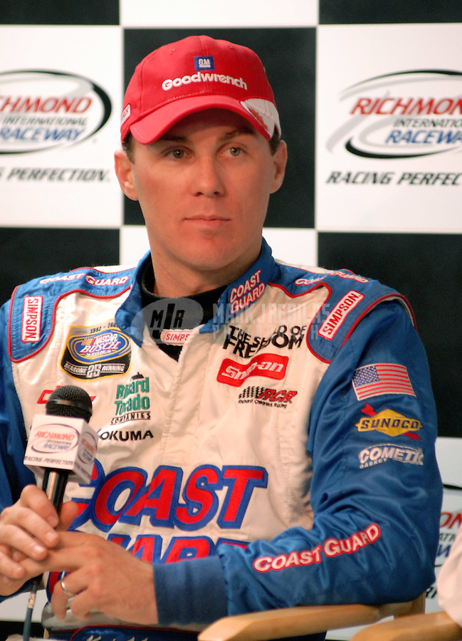 May 5, 2006; Richmond, VA, USA; Nascar Nextel Cup driver Kevin Harvick (29) takes questions from the media after announcing a three year contract extention with Richard Childress Racing prior to qualifying for the Crown Royal 400 at Richmond International Raceway. Mandatory Credit: Mark J. Rebilas-US PRESSWIRE Copyright © 2006 Mark J. Rebilas..