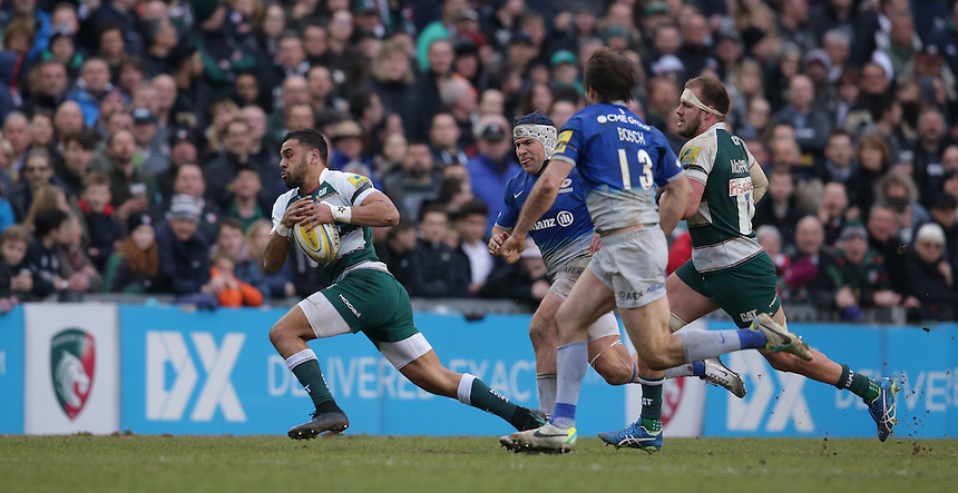 Leicester Tigers' Telusa Veainu breaks clear<br /> <br /> Photographer Stephen White/CameraSport<br /> <br /> Rugby Union - Aviva Premiership Round 17 - Leicester Tigers v Saracens - Sunday 20th March 2016 - Welford Road - Leicester <br /> <br /> &copy; CameraSport - 43 Linden Ave. Countesthorpe. Leicester. England. LE8 5PG - Tel: +44 (0) 116 277 4147 - admin@camerasport.com - www.camerasport.com