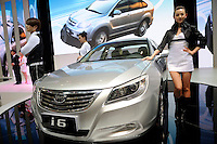 BYD i6 sedan at the Beijing Auto Show in Beijing, China. The car show has attracted all the world's major auto markers. China's vehicle sales have breached the 10-million barrier for the first time ever, with 10.9 million automobiles sold last year. .24 Apr 2010