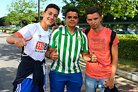 A Real Betis fan poses between two AFC Bournemouth fans during AFC Bournemouth vs Real Betis, Friendly Match Football at the Vitality Stadium on 3rd August 2018