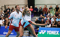 17 OCT 2009 - LOUGHBOROUGH, GBR - Anthony Clark watches as Donna Kellogg returns in their mixed doubles match during the Team England v Japan International (PHOTO (C) NIGEL FARROW)
