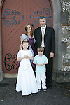 Amy Caffrey, who made her First Communion in Clogherhead on Saturday, pictured with her family, Mark, Adam and Lisa.