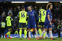Huddersfield Town's recent signing from Charlton Athletic, Karlan Grant shakes hands with Chelsea's recent signing, Gonzalo Higuain at the end of the match during Chelsea vs Huddersfield Town, Premier League Football at Stamford Bridge on 2nd February 2019
