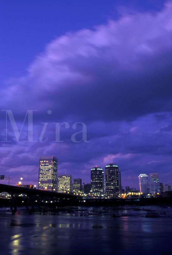 Richmond, skyline, VA, Virginia, Skyline of downtown Richmond at night. Manchester Bridge spans the James River.