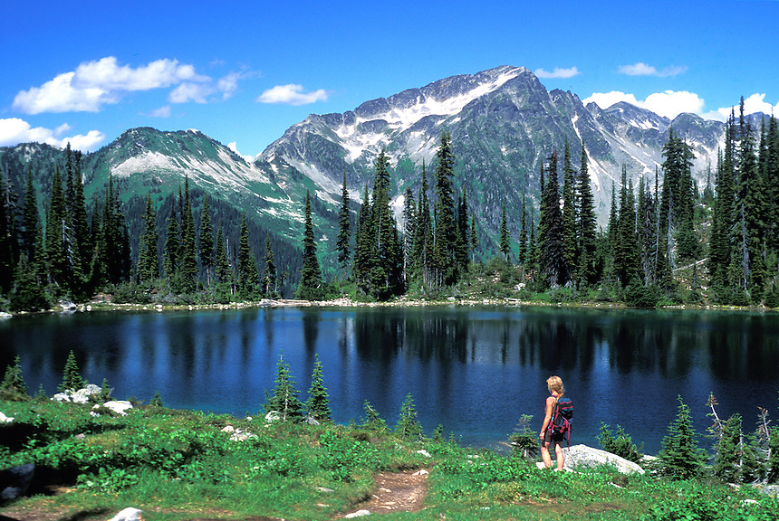 Hiking along Eva Lake. Mount Revelstoke National Park, British Columbia