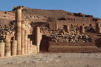 Great temple, 1st century BC, Petra, Ma'an, Jordan. The temple, built on the southern side of the Colonnaded street, was destroyed by an earthquake shortly after it was built. Later, a small theatre in the main building, and a large terrace below with a triple colonnade on each side, were added. Petra was the capital and royal city of the Nabateans, Arabic desert nomads. Picture by Manuel Cohen