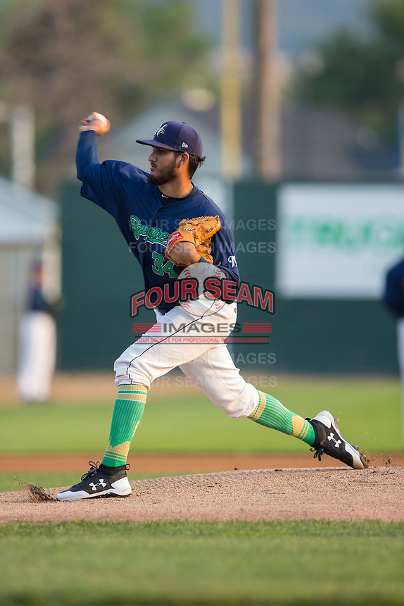 Helena Brewers starting pitcher Nelson Hernandez (34) delivers a pitch to the plate against the Orem Owlz at Kindrick Legion Field on August 17, 2017 in Helena, Montana.  The Owlz defeated the Brewers 5-2.  (Brian Westerholt/Four Seam Images)