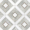 Hadrian, a hand-cut stone mosaic, shown in polished Dolomite, Stratus and honed Palomar, is part of the Palazzo™ collection by New Ravenna.
