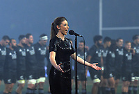 Singer Lizzy Marvelly sings the NZ national anthem before the 2017 DHL Lions Series rugby union match between the NZ Maori and British & Irish Lions at Rotorua International Stadium in Rotorua, New Zealand on Saturday, 17 June 2017. Photo: Dave Lintott / lintottphoto.co.nz
