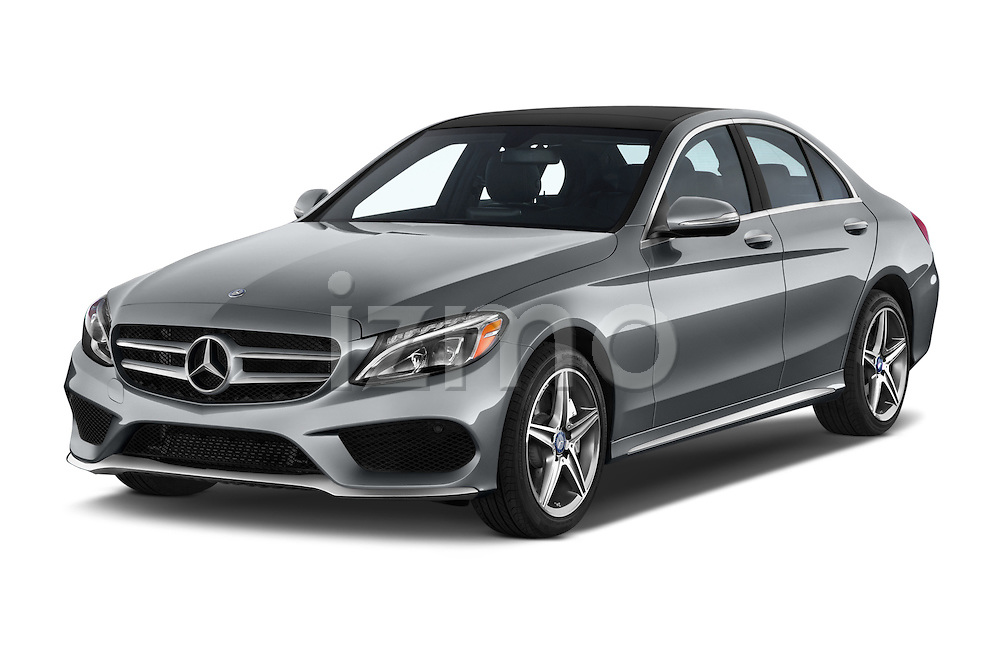 2015 Mercedes Benz C-Class C300 Sport 4 Door Sedan Angular Front stock photos of front three quarter view