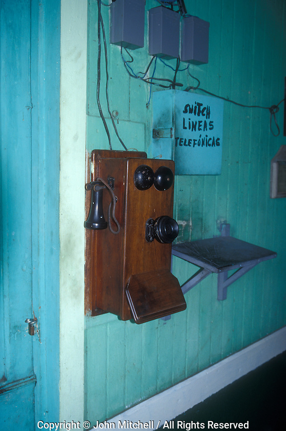 Old telephone at the Sitio del Nino train station in El Salvador, Central America