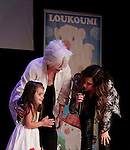 Malena (daughter of Constantine Maroulis) with Olympia Dukakis (Search for Tomorrow) and singer Anna Vissi at Loukoumi & Friends Concert held on June 23, 2014 at the Scholastic Theatre, New York City, New York.  Proceeds will benefit The Loukoumi Make a Difference Foundation. Foundation first project will be the Make A Difference with Loukoumi television special airing on FOX stations Oct 19-20. (Photo by Sue Coflin/Max Photos)