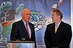 23 May 2008: Senator Patrick Leahy (D) (left) announces an upcoming baseball event wherein the Boston Red Sox 2007 World Series trophy will make a special appearance at Historic Centennial Field on Friday, June 27th, 2008, when the Vermont Lake Monsters will host the Red Sox New York-Penn League affiliate, the Lowell Spinners. Lake Monsters' General Manager CJ Knudsen (right) listens and adds that the trophy will be on display at the field before the game and fans will then have a chance to have their picture taken with the trophy during the game...Mandatory Photo Credit: Ed Wolfstein Photo