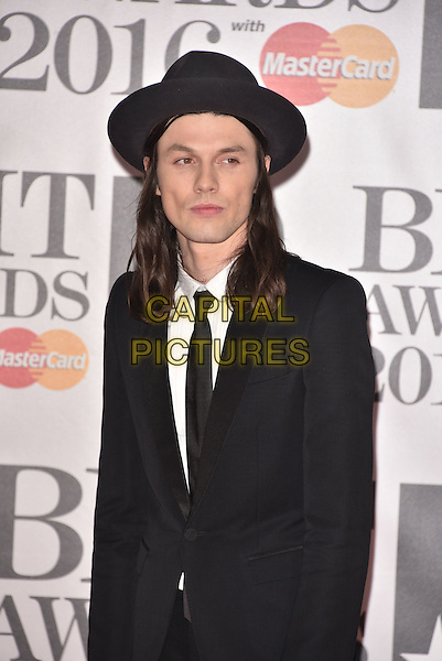 LONDON, ENGLAND - FEBRUARY 24: James Bay attends the BRIT Awards 2016 at The O2 Arena on February 24, 2016 in London, England<br /> CAP/PL<br /> &copy;Phil Loftus/Capital Pictures