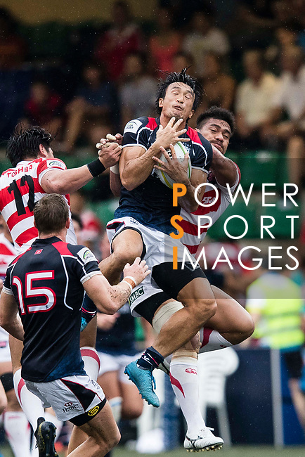 Kam Shing of Hong Kong (C) in action during the Asia Rugby Championship 2017 match between Hong Kong and Japan on May 13, 2017 in Hong Kong, Hong Kong. (Photo by Cris Wong / Power Sport Images)