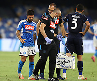 1st August 2020; Stadio San Paolo, Naples, Campania, Italy; Serie A Football, Napoli versus Lazio; Lorenzo Insigne of Napoli is taken off the field after a heavy tackle