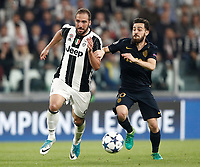 Football Soccer: UEFA Champions League semifinal second leg Juventus - Monaco, Juventus stadium, Turin, Italy,  May 9, 2017. <br /> Juventus' Gonzalo Higuain (l) in action with Monaco's Bernardo Silva (r) during the Uefa Champions League football match between Juventus and Monaco at Juventus stadium, on May 9, 2017.<br /> UPDATE IMAGES PRESS/Isabella Bonotto