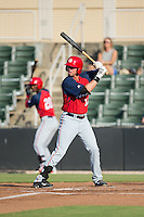 Matthew Page (36) of the Hagerstown Suns at bat against the Kannapolis Intimidators at Intimidators Stadium on July 18, 2015 in Kannapolis, North Carolina.  The Intimidators defeated the Suns 1-0.  (Brian Westerholt/Four Seam Images)