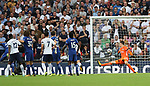 Chelsea's Thibaut Courtois is unable to save Michy Batshuayi's own goal during the premier league match at the Wembley Stadium, London. Picture date 20th August 2017. Picture credit should read: David Klein/Sportimage