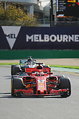 25th March 2018, Melbourne Grand Prix Circuit, Melbourne, Australia; Melbourne Formula One Grand Prix, race day; Sebastian Vettel of Germany driving the (5) Ferrari SF71H ahead of Hamilton in the Mercendes