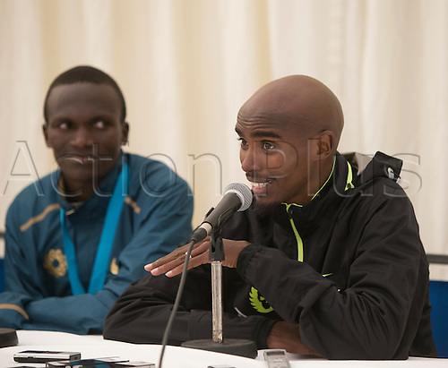 07.09.2014.  South Shields, England.  BUPA Great North Run. Mo Farah press conference after his victory in the Great North Run.
