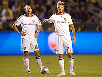 LA Galaxy midfielder David Beckham gives direction as teammate Gregg Berhalter looks on over the ball during the Western Conference Final. The LA Galaxy defeated the Houston Dynamo 2-1 to win the MLS Western Conference Final at Home Depot Center stadium in Carson, California on Friday November 13, 2009.....