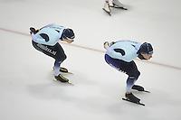 SCHAATSEN: HEERENVEEN: IJsstadion Thialf, 04-02-15, Training World Cup, Bart Swings (BEL), Alexej Baumgärtner (GER), ©foto Martin de Jong