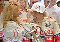 NASCAR Winston Cup driver Bill Elliott celebrates in Victory Lane after winning  the Pepsi Firecracker 400 at Daytona International Speedway in Daytona Beach, FL on July 2, 1988.  (Photo by Brian Cleary/bcpix.com)
