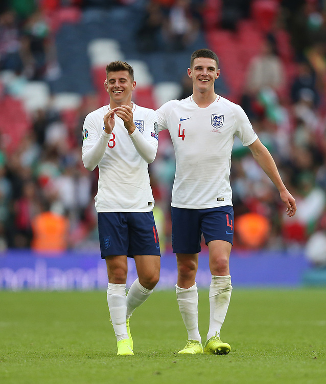 England's Mason Mount and Declan Rice at the end of the match<br /> <br /> Photographer Rob Newell/CameraSport<br /> <br /> UEFA European Championship Qualifying Group A - England v Bulgaria - Saturday 7th September 2019 - Wembley Stadium - London<br /> <br /> World Copyright © 2019 CameraSport. All rights reserved. 43 Linden Ave. Countesthorpe. Leicester. England. LE8 5PG - Tel: +44 (0) 116 277 4147 - admin@camerasport.com - www.camerasport.com