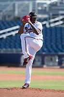Peoria Javelinas relief pitcher Touki Toussaint (19), of the Atlanta Braves organization, delivers a pitch to the plate during a game against the Scottsdale Scorpions on October 19, 2017 at Peoria Stadium in Peoria, Arizona. The Scorpions defeated the Javelinas 13-7.  (Zachary Lucy/Four Seam Images)