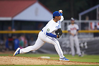 Burlington Royals relief pitcher Angel Zerpa (30) delivers a pitch to the plate against the Danville Braves at Burlington Athletic Stadium on July 13, 2019 in Burlington, North Carolina. The Royals defeated the Braves 5-2. (Brian Westerholt/Four Seam Images)