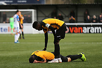 Aron Davies of Maidstone United, on loan from Fulham,  lies on the ground after suffering a painful injury during Maidstone United vs Havant and Waterlooville, Vanarama National League Football at the Gallagher Stadium on 9th March 2019