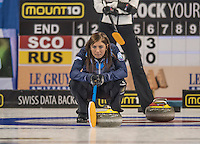 Glasgow. SCOTLAND.  Scotland, &quot;Skip&quot; Eve MUIRHEAD,  &quot;Marks&quot; where she wants the &quot;Stone&quot; to strike, during  the &quot;Round Robin&quot; Game.  Scotland vs Russia,  Le Gruy&egrave;re European Curling Championships. 2016 Venue, Braehead  Scotland<br /> Thursday  24/11/2016<br /> <br /> [Mandatory Credit; Peter Spurrier/Intersport-images]