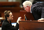 Nevada Assembly Speaker John Hambrick, R-Las Vegas, talks with Chief Clerk Susan Furlong during Assembly floor debate at the Legislative Building in Carson City, Nev., on Sunday, May 31, 2015.  <br /> Photo by Cathleen Allison