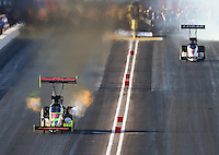 Feb 26, 2016; Chandler, AZ, USA; NHRA top fuel driver J.R. Todd during qualifying for the Carquest Nationals at Wild Horse Pass Motorsports Park. Mandatory Credit: Mark J. Rebilas-USA TODAY Sports
