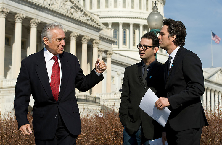 "UNITED STATES - FEBRUARY 17: From left, Rep. Maurice Hinchey, D-N.Y.,  Josh Fox, director of the documentary film ""Gasland,"" and actor Mark Ruffalo hold a news conference at the House Triangle on Thursday, Feb. 17 , 2011, to highlight the need for stronger federal rules to protect drinking water and the overall environment from the risks associated with the natural gas drilling technique known as hydraulic fracturing. (Photo By Bill Clark/Roll Call)"