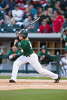 Brett Netzer (9) of the Charlotte 49ers follows through on his swing against the North Carolina State Wolfpack at BB&T Ballpark on March 31, 2015 in Charlotte, North Carolina.  The Wolfpack defeated the 49ers 10-6.  (Brian Westerholt/Four Seam Images)