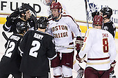 Damian Cross (PC - 9), Stefan Demopoulos (PC - 12), [p2, Bill Arnold (BC - 24), Edwin Shea (BC - 8), Derek Army (PC - 19) - The Boston College Eagles defeated the visiting Providence College Friars 4-1 (EN) on Tuesday, December 6, 2011, at Kelley Rink in Conte Forum in Chestnut Hill, Massachusetts.