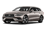 Stock pictures of low aggressive front three quarter view of a 2019 Volvo V60 Inscription 5 Door Wagon