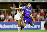 WASHINGTON, DC - AUGUST 24: Orlando Pride forward Marta (Marta Vieira da Silva) (10) heads a ball in front of the goal during the National Women's Soccer League (NWSL) game between the Orlando Pride and Washington Spirit August 24, 2019 at Audi Field in Washington, D.C.. (Photo by Randy Litzinger/Icon Sportswire)