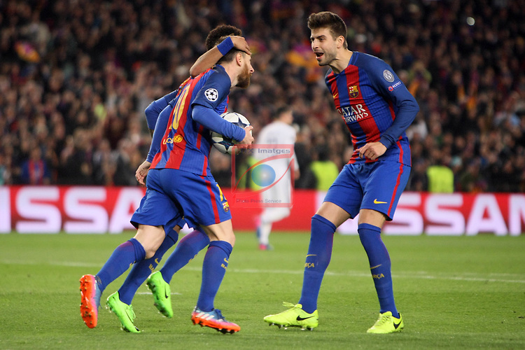 UEFA Champions League 2016/2017.<br /> Round of 16 2nd leg<br /> FC Barcelona vs Paris Saint-Germain: 6-1.<br /> Lionel Messi, Neymar Jr. &amp; Gerard Pique.
