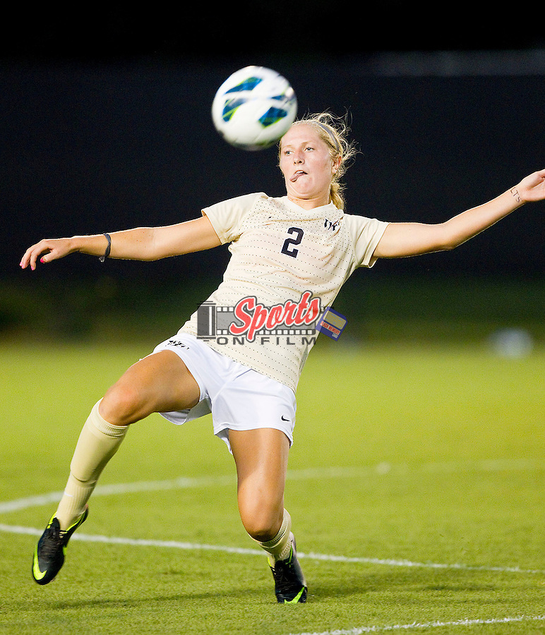 Riley Ridgik (2) of the Wake Forest Demon Deacons during second half action against the INCG Spartans at Spry Soccer Stadium on August 24, 2012 in Winston-Salem, North Carolina.  The Spartans defeated the Demon Deacons 1-0.  (Brian Westerholt / Sports On Film)