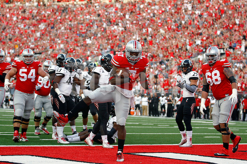 Ohio State Buckeyes running back Rod Smith (7) reacts after his touchdown during the first quarter of Saturday's NCAA Division I football game at Ohio Stadium in Columbus on September 27, 2014. (Columbus Dispatch photo by Jonathan Quilter)