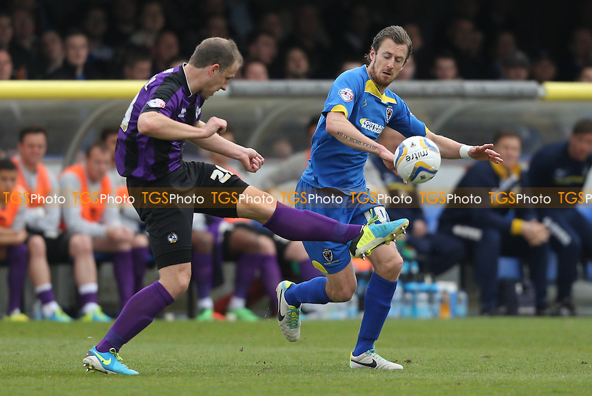 Jack Midson of AFC Wimbledon challenges for the ball - AFC Wimbledon vs Bristol Rovers - Sky Bet League Two Football at Kingsmeadow, Norbiton, London - 05/04/14 - MANDATORY CREDIT: Simon Roe/TGSPHOTO - Self billing applies where appropriate - 0845 094 6026 - contact@tgsphoto.co.uk - NO UNPAID USE
