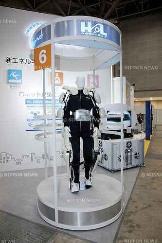 October 17, 2012, Tokyo, Japan - The new robot suit HAL of Ciberdyne company exhibits at Japan Robot Week. The Japan Robot Week 2012 shows the New Energy and Industrial Robot Innovation Technology products in Japan, the exhibition opens from October 17 to 19 at Tokyo Big Sight. (Photo by Rodrigo Reyes Marin/AFLO)..