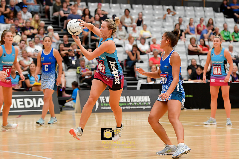 Steel Kate Heffeman in action during the Netball Pre Season Tournament - Mystics v Steel at Ngā Purapura, Otaki, New Zealand on Saturday 9 February  2019. <br /> Photo by Masanori Udagawa. <br /> www.photowellington.photoshelter.com