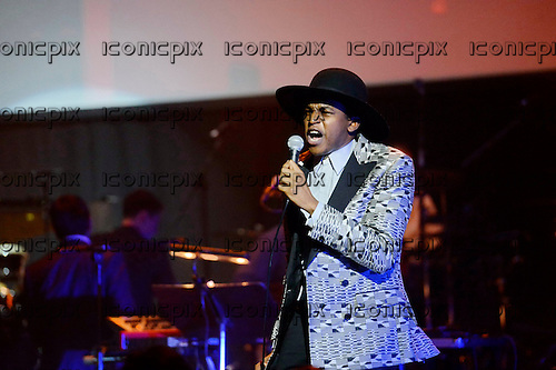 Ahmed Ghallab - performing live Atomic Bomb: Who Is William Onyeabor at the Barbican Hall in London UK - 01 April 2014. Photo credit: George Chin/IconicPix